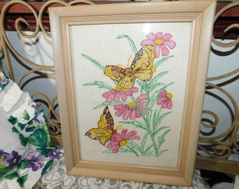 EmbroideryPainted Picture of Butterflies  14 x 11 ,Butterflies, Butterfly, Vintage home Decor, Country Decor,
