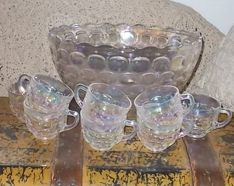 Vintage Bubbled Punch Bowl and 8 Matching Glasses Hard To Find.:)s NOT Included in Coupon Sale