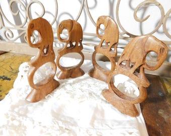 Elephant Napkin Rings Hand Carved, Wood Elephant Napkin Rings, Napkin Rings, Elephant, Table Ware
