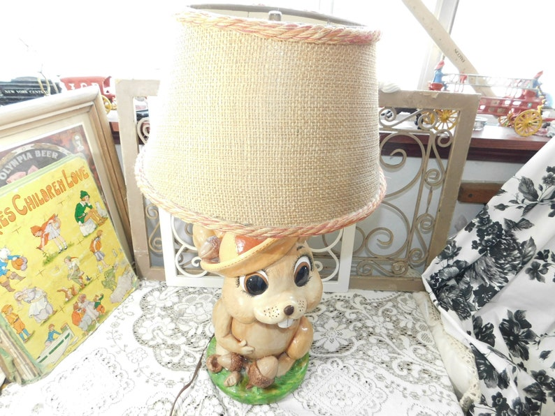 Cabin Decor Squirrel Vintage Lamp Animal Factory Squirrel 77 Child room decor Wild Life Animal Lamp Vintage Table Lamp Country Decor