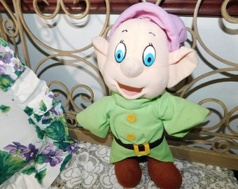 Disney Snow White and the Seven Dwarfs Dopey Stuffed Doll 1983, Disney Doll, Snow White Doll, Cloth Body Doll, Vintage Toys, Toys,