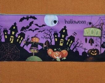 Purple Black & Orange Haunted House Halloween Towel