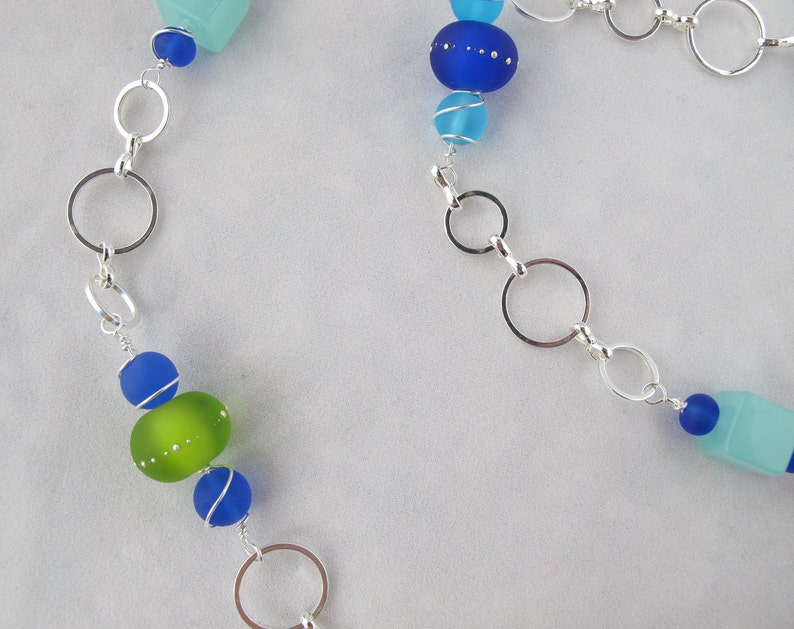 Sea Glass and Sand Pebbles Necklace with Adjustable Silver Chain