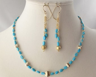 Turquoise and Gold Choker and Matching Earring Set
