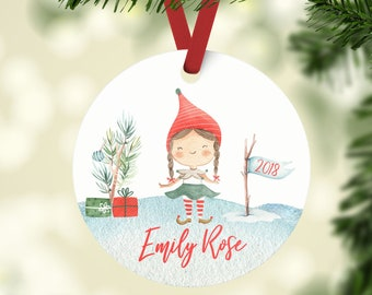 Personalized Christmas Ornament For a Girl, Personalized Girl Elf Ornament , Little Girl Christmas Ornament,  Custom Christmas Ornament