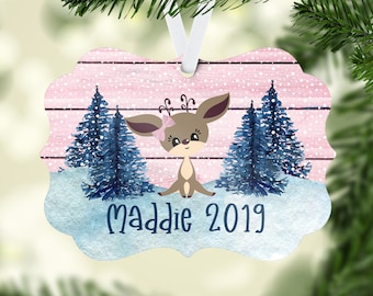 Personalized Ornament Little Girl | Baby Girl  Christmas Ornament |  Personalized Girl Ornament  | Ornament Keepsake | Deer Ornament