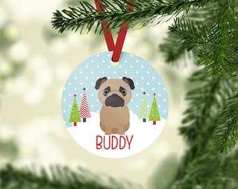 Pug Ornament Etsy