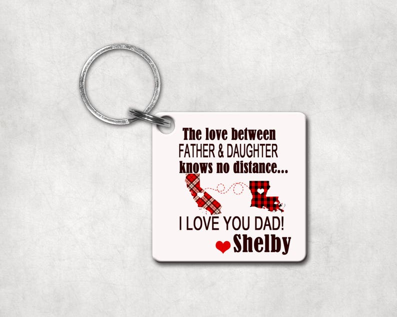 The Love Between Knows No Distance | Key Chain Personalized Connected  States | Long Distance Relationship | Father's Day Gift