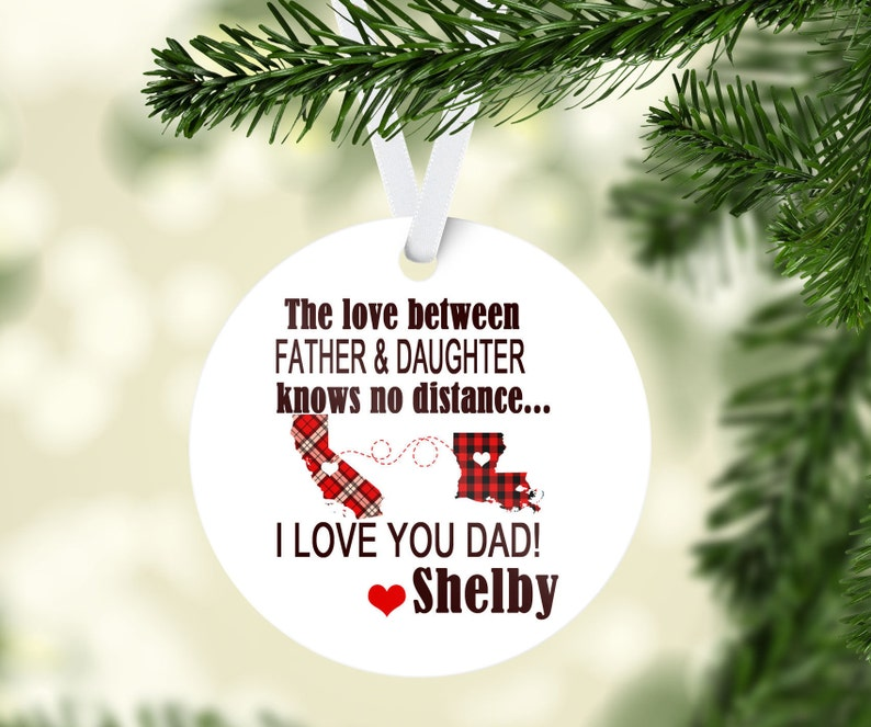 The Love Between Knows No Distance | Ornament Personalized Connected States  | Long Distance Relationship | Father's day