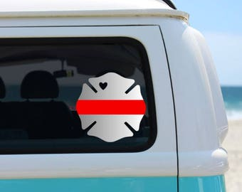Firefighter Vinyl Decal | Thin Red Line | Car Decal | Laptop Decal | Maltese Cross Decal | Firefighter Wife | Fire Family