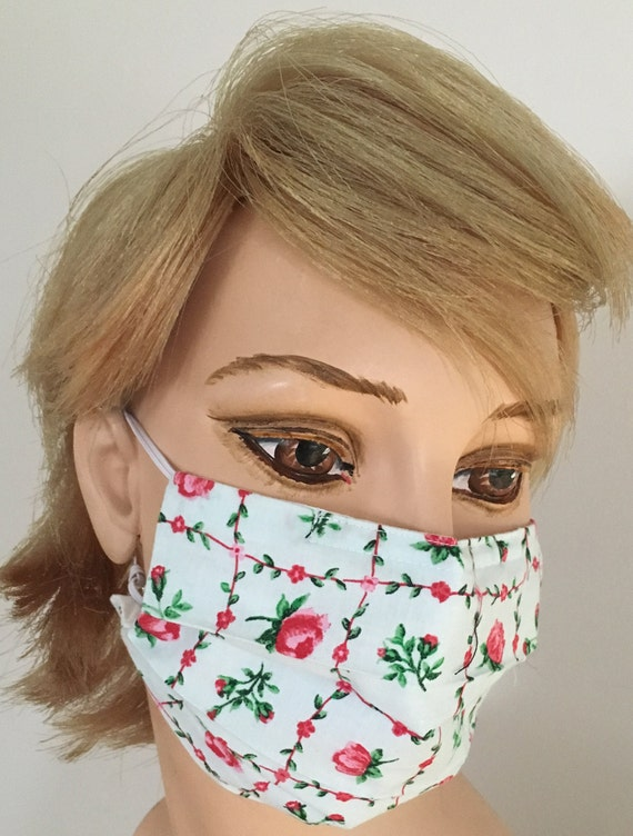 Surgical Nose Bridge Organic Allergy Pink Inserted Cotton Mask Roses Face