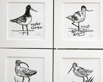Set of 4 lino cut print Birds
