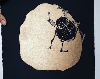 Gold Dungbeetle - lino cut print