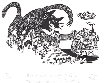 Black Cat Emerging from the Trees to Devour a City - lino cut print