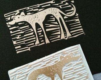 Slinky Dog - lino cut print