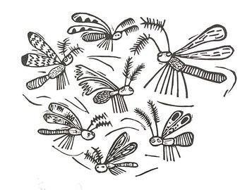 Fluttering Moths - lino cut print