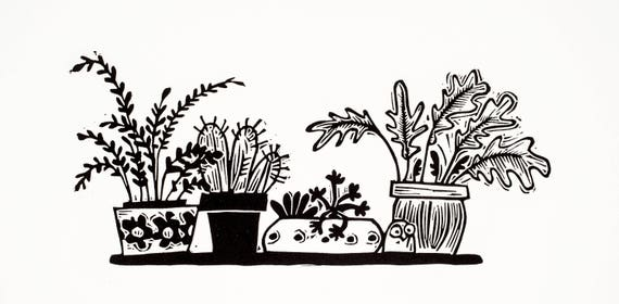 Tiny Fensterbank Garten Linoldruck Kakteen Sukkulenten Etsy