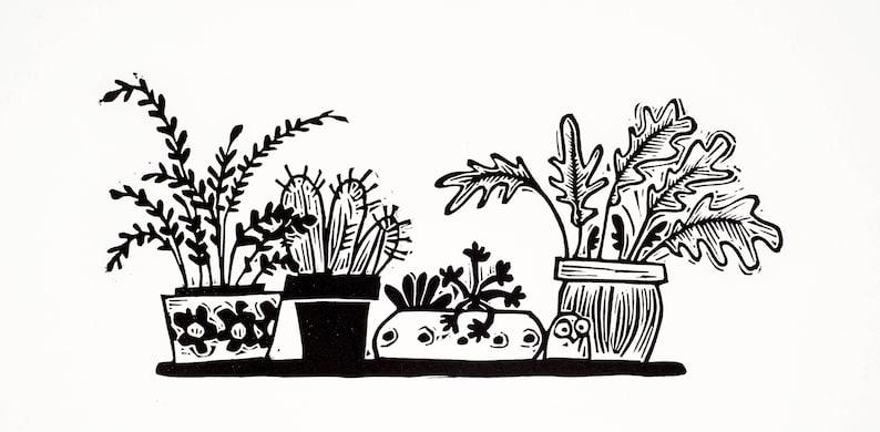 Tiny Windowsill Garden  linocut print cacti succulents image 0