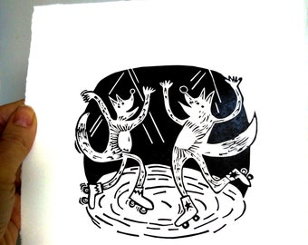Foxes at the Roller Disco – lino cut print