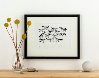 Wagtails - lino cut print