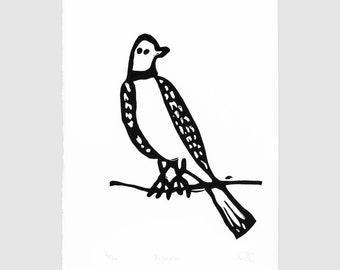 Pigeon - lino cut print - bird art