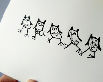 Owl Race - lino cut print