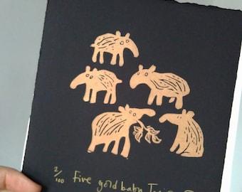 Five Gold Baby Tapirs - lino cut print