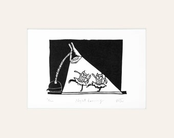 Night Dancing - lino print of cats, cat art, ballet, illustration, black and white, funny, lino cut, print, cat lover