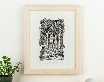 Woodland Glade - lino cut print