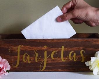 "Wedding ""Tarjetas"" Card Box, Rustic Card Box, Wood Card Box, Wood Card Holder, rustic card holder, wedding card sign, card box, card holder"