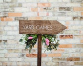 Wedding Yard Games Directional Arrow Sign, Rustic Woodland Wedding Sign, Wood Wedding Arrow, Wedding Wood Sign, Yard Games Sign