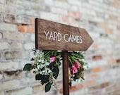 Wedding Yard Games Directional Arrow Sign, Rustic Woodland Wedding Sign, Wood Wedding Arrow, Wedding Wood Sign, Yard Games Sign