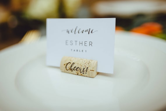 Cheers Wine Cork Place Card Holder Or Place Setter Wine Cork Etsy