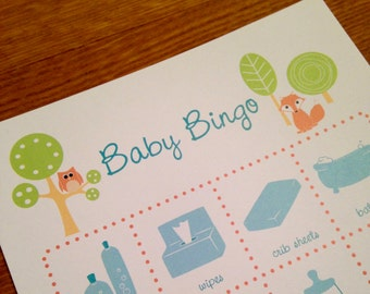 Woodland Themed Baby Shower Bingo Game Cards - Set of 10