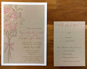 Hand painted Rose Invitation Sample Set