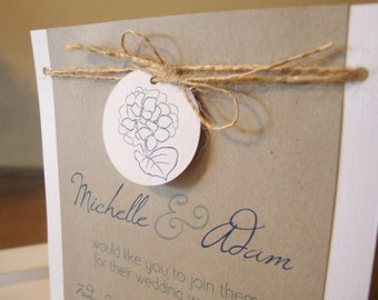 Hydrangea Wedding Invitation - rustic, natural - Sample Set