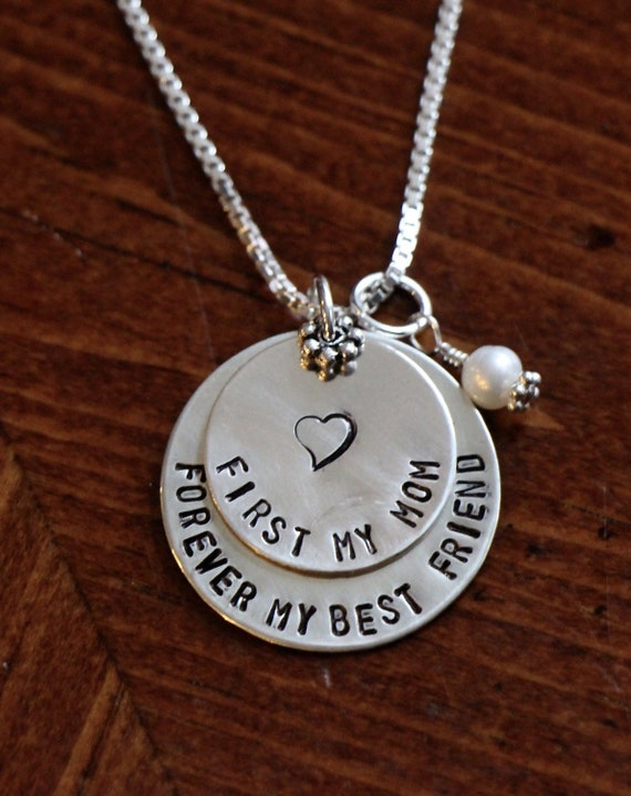 Mother/'s Day Gift Mother Daughter Necklace First My Mom Forever My Friend Necklace Hand Stamped Sterling Silver Mother of Bride Gift