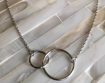 Silver Eternity Circle Necklace -  Interlocking Circles Represents Never Ending Love Jewelry