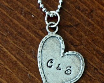 Heart Personalized Necklace- Hand Stamped- Custom Initial Heart- Couples Jewelry- Wedding Gift- Anniversary Gift