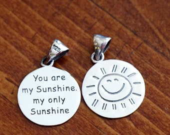 You Are My Sunshine, My Only Sunshine Charm, Sterling Silver