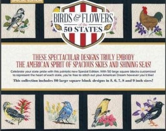 Birds and Flowers of 50 States  Anita Goodesign Embroidery Machine Design BoOK and CD BIrDS & FLoWERS OF ThE 50 STaTES Brand New