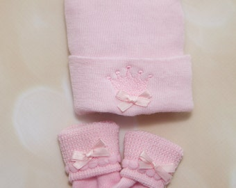 Newborn Girl Hospital Baby Hat and Socks Set Baby Girl Newborn Set Newborn Baby Girl Hospital Hat