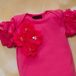 Ruffle Mauve Baby Girl Romper Short Sleeve Infant One Piece  Romper with Chiffon Flowers