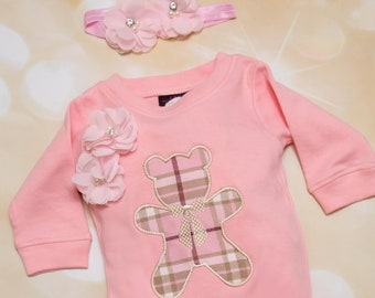 4d2c16dcfc3 Baby Girl Pink Romper Set Pink Embroidered Infant Romper Set with Beautiful  Tartan Fabric Bear and Matching Headband