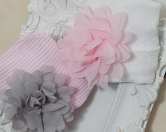 Newborn Hospital Hat  Newborn Baby Girl Hospital Hat with Chiffon Flower