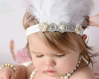 Feather Headband with Rhinestones Beautiful Rhinestones and Feather Headband