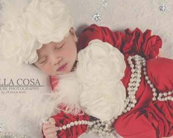 e4cf0b8e996e Red Baby Girl Ruffle Romper Set Infant One Piece Set Holiday Ruffle Romper  with Feather Flowers and Matching Lace Headband