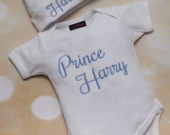 6b683e84399d Personalized White Baby Boy One Piece Set Embroidery Infant Short Sleeve  One Piece Set with Matching Hat
