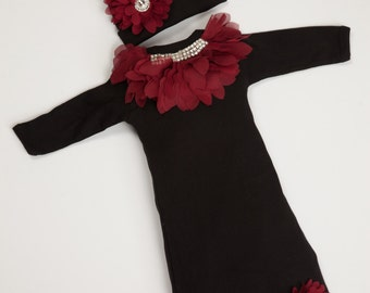 a4c027c87c7 Baby Girl Gown Infant Baby Layette Black Cotton Romper with Chiffon and  Rhinestone Collar and Matching Hat