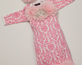 ab8196df6a0d Infant Pink Damask Layette Cotton Baby Gown with Pink Chiffon Flowers and  Rhinestone Crown